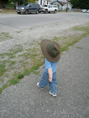 Big hat (Jeff Youngstrom) Tags: street blue boy hat nathan walk issaquah