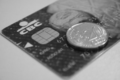 Coin & chip (jepoirrier) Tags: bw white black blackwhite coin turtle euro card cents cbc chip 20 debitcard