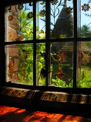 Painted Window at Red House (Laura Nolte) Tags: england london window architecture redhouse nationaltrust southlondon williammorris artsandcrafts bexleyheath