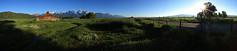 Mormon Row Panorama (Jeff Dyck) Tags: panorama mountains barn jackson wyoming tetons grandtetonnationalpark mormonrow jeffdyck moultonbarn
