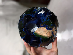 World in your hand (Bogdan L) Tags: world goldberg 3d globe origami hand map earth nasa puzzle kirigami papercraft truncatedicosahedron bluemarble craftrobo photopaper mathmap noglue curvedfolding bogdanl panoball