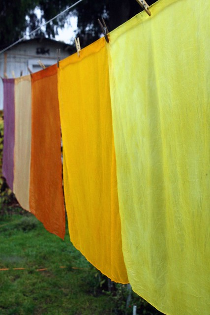 naturally dyed playsilks on the line