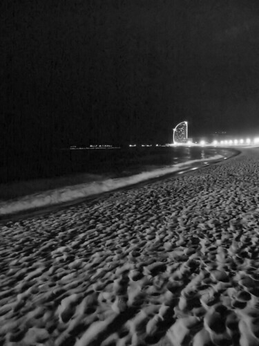 barcelona beach night. Barcelona - each by night.