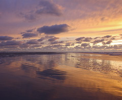 at the beach with sunset / color / water / reflections / sand / sky / clouds / landscape (The Family Dog) Tags: sunset sky color beach water clouds reflections landscape sand ameland