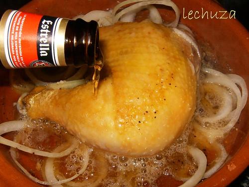 Pollo con garbanzos-añadir cerveza