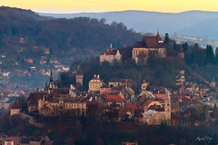 Sighisoara (Raoul Pop) Tags: autumn fall architecture canon buildings evening flickr seasons dusk arts structures medieval historic romania sighisoara fortifications transilvania hilltop googlephotos canoneos7d