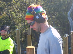 Hippy with ear muffs (mithracox) Tags: building shack poles earmuffs wombeyan