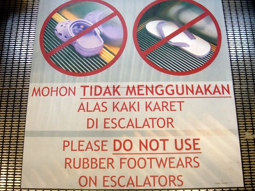 Croc escalator sign in Jakarta by satya.w