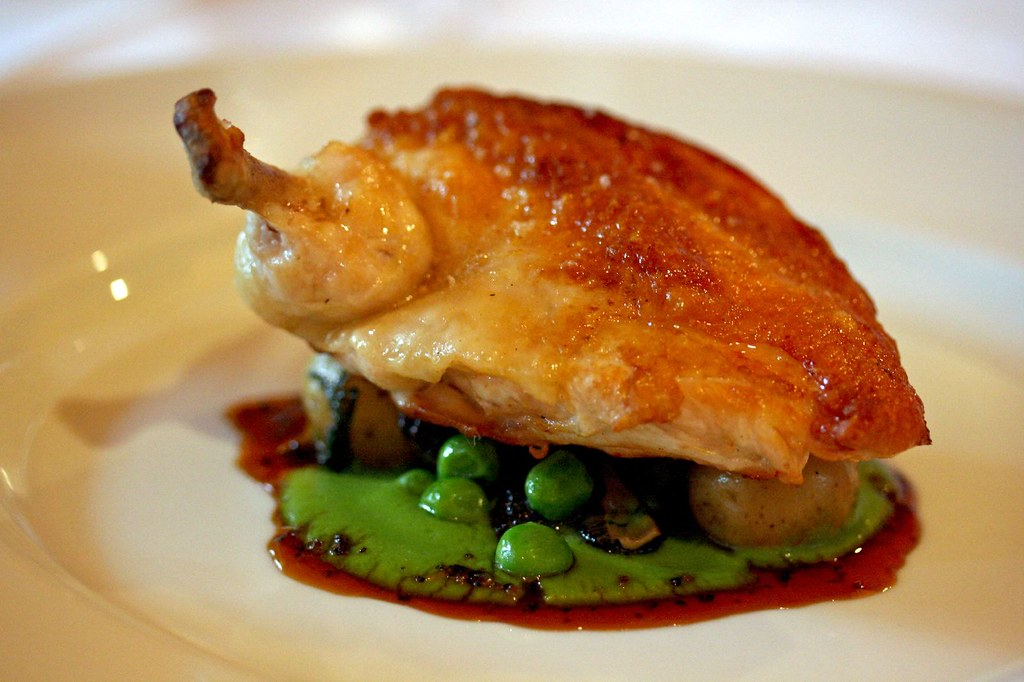 Roasted Chicken with Garden Peas and Morels