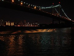 Triboro skyline (Super Happy Eats) Tags: nyc newyorkcity bridge water skyline night buildings river dark lights eastriver triborobridge
