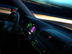 Night driver (Rune T) Tags: blue motion blur car night speed dark lights evening movement long exposure wide inside 20mm dashboard skoda sigma1020mm rtphoto