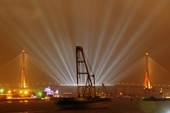 Shanghai - Yangpu Bridge (cnmark) Tags: china bridge light ferry night port river giant geotagged noche boat barco ship shanghai expo nacht harbour crane floating vessel cable explore nave huge noite   nuit schiff barge notte stayed 2010 nachtaufnahme huangpu navire   yangpu yangpubridge  schwimmkran explored navo allrightsreserved   geo:lon=121514706 oltusfotos mygearandmepremium mygearandmebronze mygearandmesilver mygearandmegold mygearandmeplatinum mygearandmediamond ringexcellence geo:lat=31246833