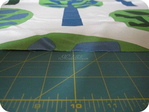 tree motif fabric centered before cutting