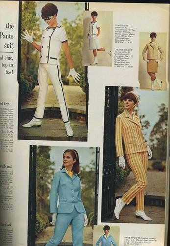 blue orange woman white black sunglasses fashion clothing women stripes spiegel 1966 gloves catalog 1960s pantsuit pantssuit