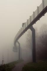 H-Bahn II (jpk.) Tags: 2010 campus canoneos7d dortmund hbahn nebel november ruhrgebiet tudortmund vormittag unterwegs trasse fahrzeug zug weg bäume bogen kurve morgen vormittags ©janphilipkopka ef235mm
