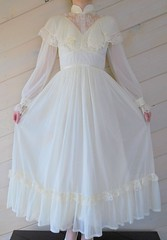 Montgomery Ward Victorian Style Buttercream Lace & Rayon Ruffled Gown Full Length Front Displayed (mondas66) Tags: ruffles dress lace victorian dresses romantic gown elegant gowns ornate rayon lacy sheer frilly elegance ruffle montgomeryward buttercream frills frill ruffled lacework frilled frilling frillings befrilled