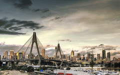 Anzac Bridge (Sarmu) Tags: city bridge sunset wallpaper sky urban building skyline architecture skyscraper highresolution downtown cityscape view skyscrapers widescreen sydney australia 1600 nsw highdefinition resolution newsouthwales 1200 cbd hd wallpapers 1920 rozelle vantage 2007 vantagepoint ws mlc sydneytower 1080 anzacbridge 1050 worldtower 720p 1080p urbanity 1680 720 2560 sarmu
