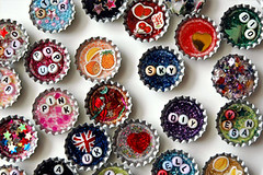 brooches/magnets + bottle tops (::smyii::) Tags: diy beads handmade brooch magnets resin recycle bottletops tacomaartmuseum