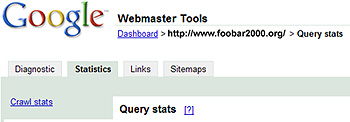 Google Webmaster Tools Query Stats