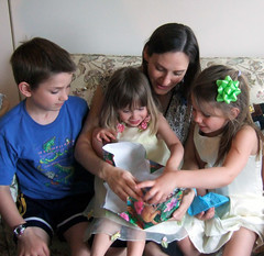 Opening gifts with Kieran, Mariah, and Shannon