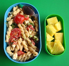 Pasta salad & pineapple lunch