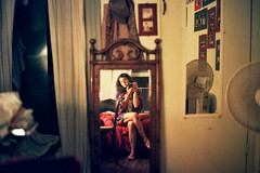 in my room (rollergirl PRG) Tags: newyorkcity selfportrait newyork reflection film me 35mm voigtlander rangefinder bessar2 1600speed qum02
