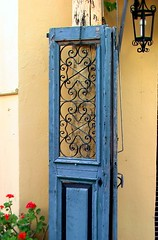 Blue Door (Jean-christophe 94) Tags: door blue flower decoration bleu crete porte grece panormo kriti jc94 jeanchristophe94
