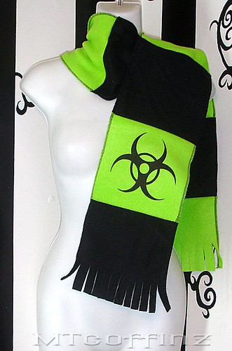 Fleece scarf with black Bio hazard logo