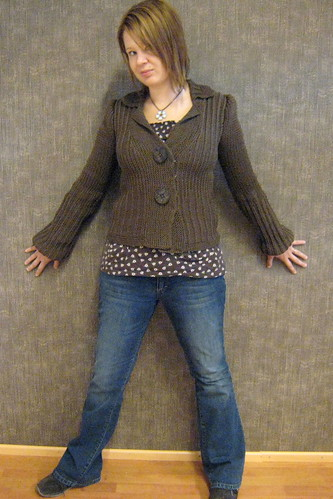 knitted jacked with big buttons