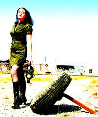 similar (*Kristene) Tags: wild woman black green contrast war raw mask bright tire gasmask 365