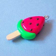 Watermelon Popsicle Charm / Pendant (yifatiii) Tags: summer fruit keychain pin sweet cellphone jewelry watermelon polymerclay fimo sculpey etsy pendant popsicle tls icelolly premo liquidclay yifatiii
