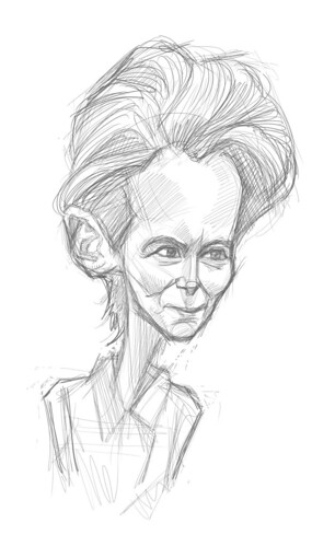 digital sketch of Tilda Swinton