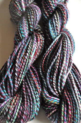 FCK sw merino & Polwarth-Violet Blue 2 strands-1 strand purple colorway from MB fiber club-~ 163yds worsted weight-10