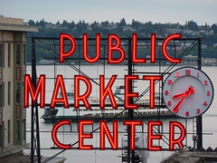 Pike Place Market and Ferry (cathysull) Tags: seattle pikeplacemarket
