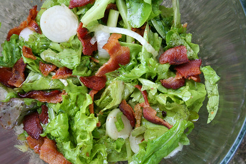 Fresh garden salad with bacon fat dressing my humble kitchen - Where can i buy olive garden salad dressing ...