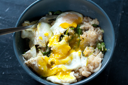 Donburi w/ fried egg and wilted arugula w/ miso