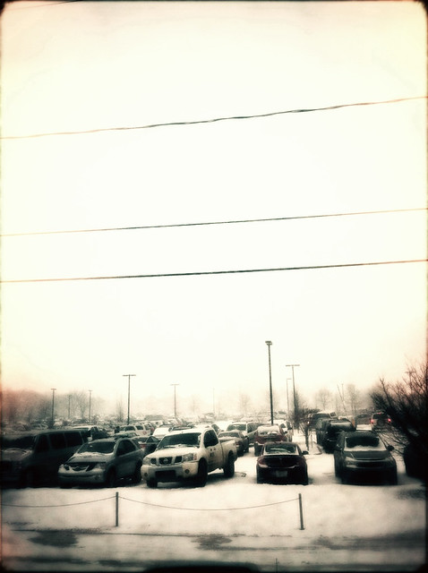 winter parking lot