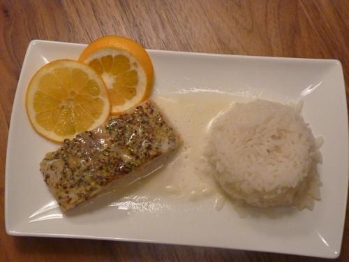 Lachs mit Orangen-Senf Haube
