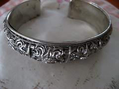 Silver Bangle ~ SWAPPED (JoulesVintage) Tags: handmade sterlingsilver silverbracelet highlydetailed wardobeswapshop
