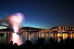 celebration of light 2007 - vancouver, canada, fireworks (jonrawlinson) Tags: ocean city sky canada mountains reflection silhouette sparkles vancouver stars rockies lights bc fireworks britishcolumbia explosion sparkle kitsilano dowtown westcoast celebrationoflight gunpowder vanierpark hsbccelebrationoflight jonrawlinson theradblog hsbccelebrationoflight2007