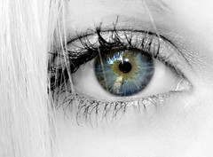 Blue with Gold (Gods Emerald - With Love Photography) Tags: blue bw macro reflection eye wonderful gold interestingness amazing eyes eyelashes awesome blueeyes monochromatic explore upclose blackandwhitewithcolor girlsthemeweek
