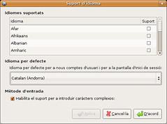 Diàleg de configuració d'idioma a Ubuntu