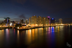 Rotterdam by Night (Boudewijn Boer (Bo)) Tags: city nightphotography travel sky urban colour skyline architecture night contrast canon dark boer interesting lowlight rotterdam europe nacht harbour nederland thenetherlands cities sigma blacks bo nightlife stillwater architectuur boudewijn donker metropole nach darksky nachtfotografie brightcolours week34 expore 1770mm frombridge aplusphoto dutchskyline nederlandsesteden dutchcities fellekleuren dutchharbours boxthebrownie photohazardous boudewijnboercom boudewijnboerfotografie