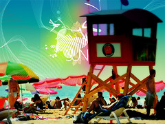Chile / summer (!osk) Tags: ocean chile windows sunset sea sun color beach birds illustration umbrella valparaiso design mar sand playa aves arena cielo pacifico ilustracion reaca salvavidas sombrillas guardacostas