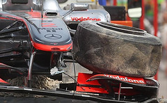 Lewis' tire in spanish grand prix 2010