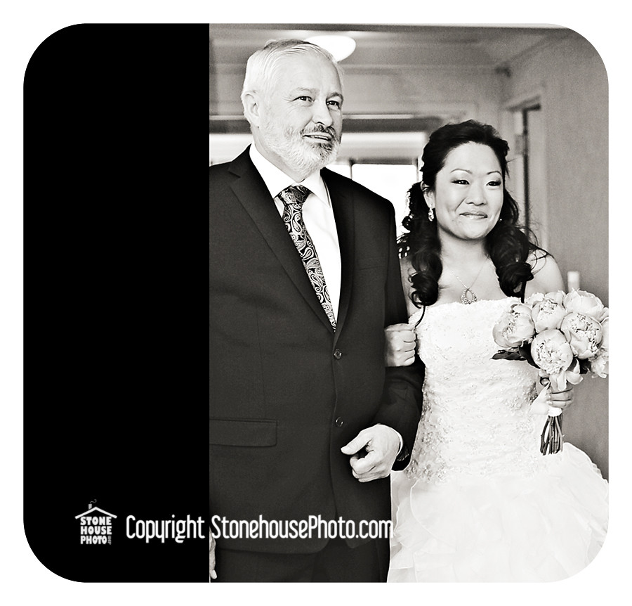 wedding photo of bride and dad