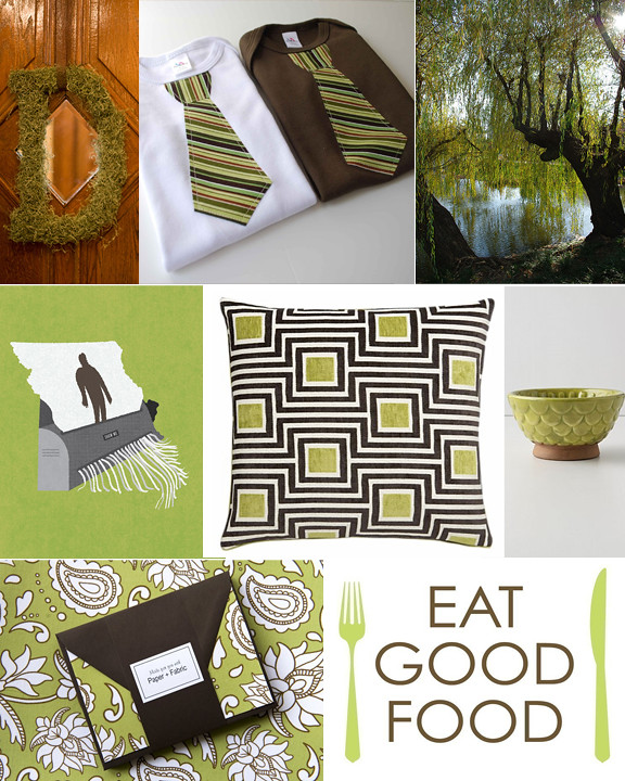 Kitschicagoan Moss Green & Chocolate Brown Mood Board