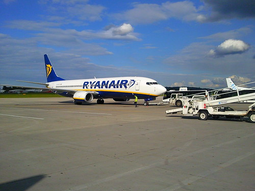 Ryanair plane at Edinburgh airport