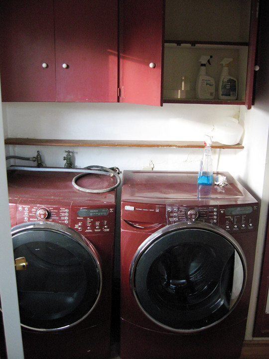 Ugly Burgundy Laundry Room -before