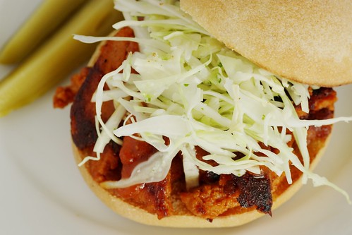bbq seitan with coleslaw